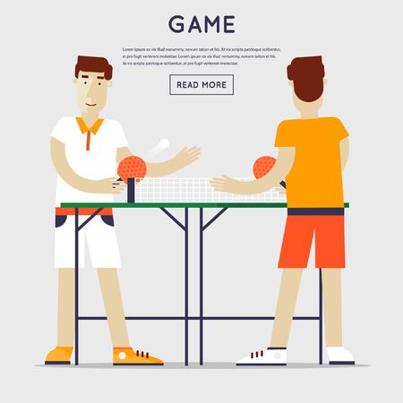 competitions: Men playing table tennis.Sport competitions. Flat design vector illustration. Illustration