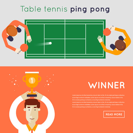 competitions: Men playing table tennis. Winner of the competition. Sport competitions. 2 banners. Flat design vector illustration.