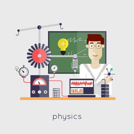 Scientist physicist at the laboratory. Physics. Laboratory workspace and workplace. Flat design vector illustration. Illusztráció