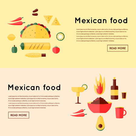 burrito: Mexican food. 2 banners. Flat design vector illustration. Illustration