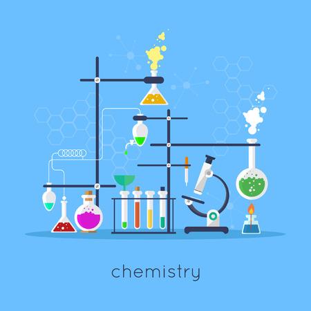 educacion fisica: Espacio de trabajo de laboratorio de química y el concepto de equipo de la ciencia. Ilustración vectorial Diseño plano.