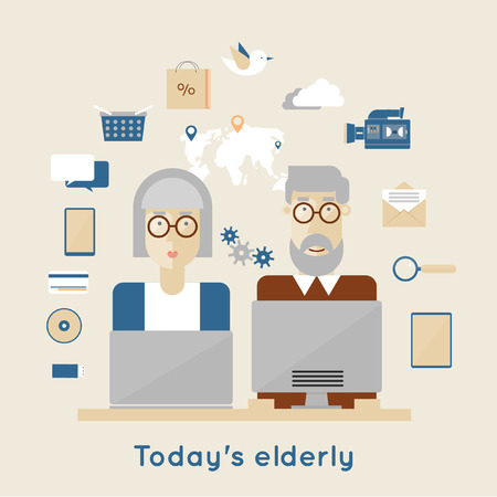female senior adults: Modern elderly and flat icons. Elderly man and woman grandparents. Illustration