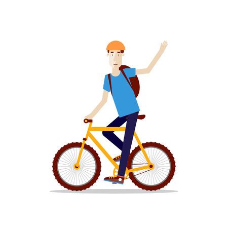 Man riding a mountain bike flat style.