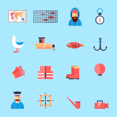 fishing net: Fishing net set of icons in a flat style.