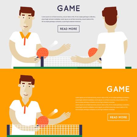 a table: Men playing table tennis. Sport competitions. 2 banners. Flat design vector illustration.