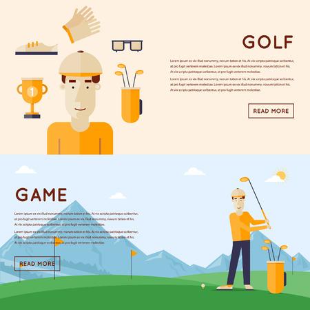 deportes caricatura: Hombre que juega a golf monta�as en el fondo. Campo de golf de El hombre y las cosas. 2 banderas. Ilustraci�n vectorial de estilo Flat.