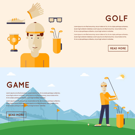 golf clubs: Man playing golf mountains in the background. Man and things golf course. 2 banners. Flat style vector illustration. Illustration