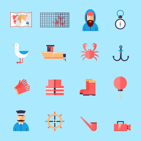 crab legs: Catching crabs set of icons in a flat style. Illustration