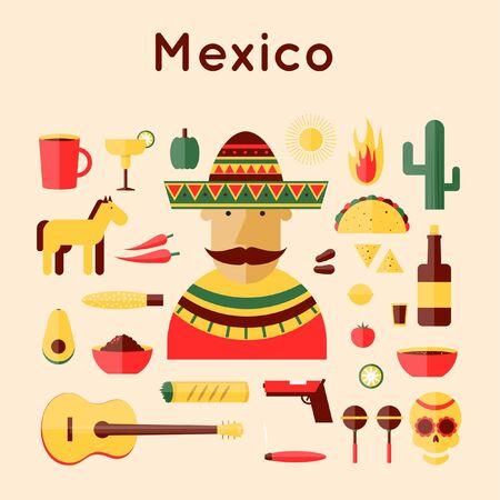 enchiladas: Mexico set icons. Flat design vector illustration.
