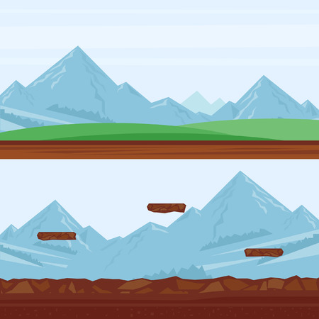 mountain landscape: Background for games, mountain landscape. Flat design vector illustration.