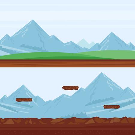 castello medievale: Sfondo per i giochi, paesaggio di montagna. Piatto progettazione illustrazione vettoriale. Vettoriali