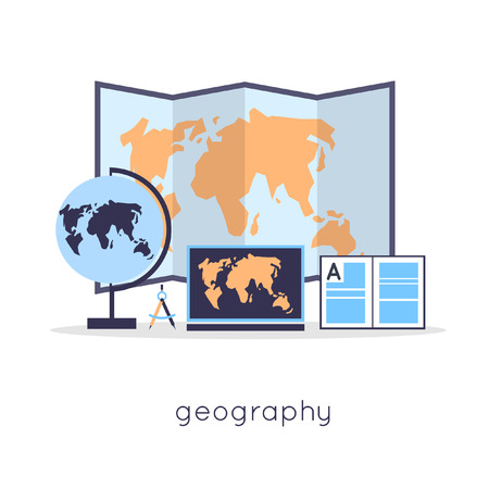 geography: Geography school subjects. Flat design vector illustration. Illustration