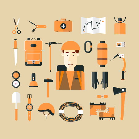 mountaineer: Mountaineer. Mountain climbing. Rock climber. Extreme sport. Icons set. Flat style vector illustration.