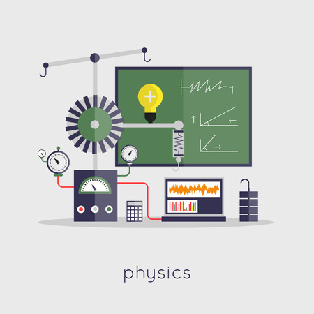 Physics laboratory workspace and science equipment concept. Flat design vector illustration. Illusztráció