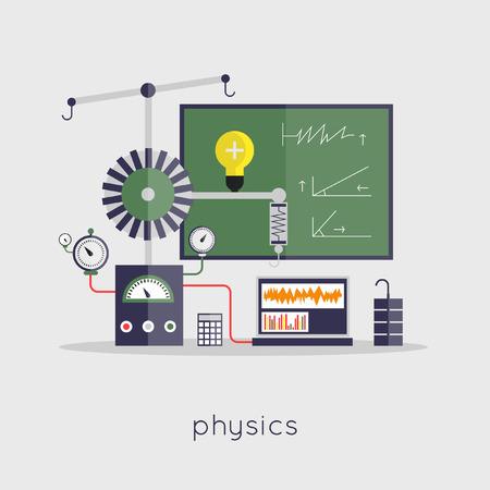 laboratory equipment: Physics laboratory workspace and science equipment concept. Flat design vector illustration. Illustration