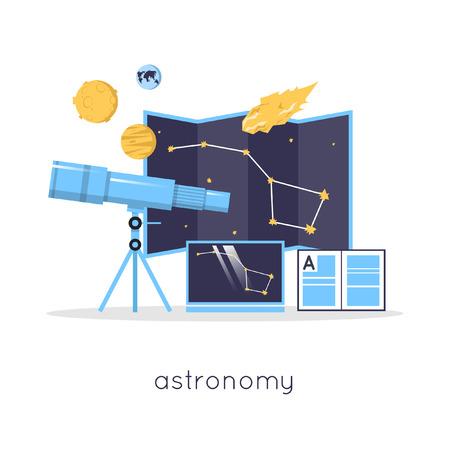espacio de trabajo: Espacio de trabajo de laboratorio Astronom�a y el concepto de equipo de la ciencia. Ilustraci�n vectorial Dise�o plano.