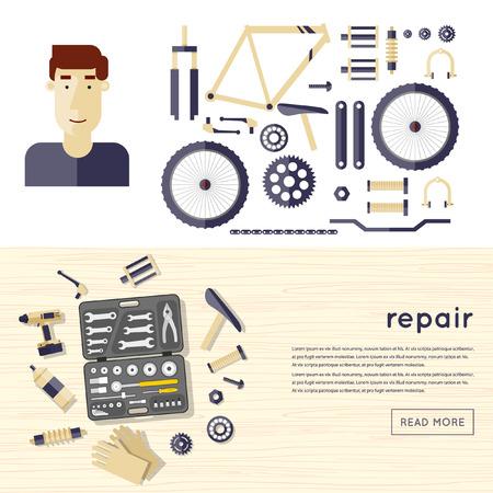 bicicleta vector: Reparación de bicicletas, piezas de bicicletas. Ilustración vectorial Diseño plano.