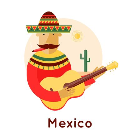 mexican party: Mexican playing the guitar in a landscape with cactus. Composition in the circle. Flat design vector illustration. Illustration