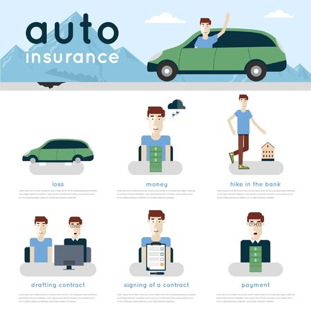 car isolated: Auto insurance info-graphics.  Illustration