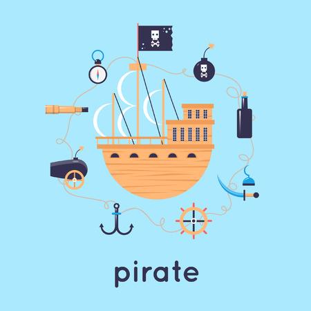 pirata: Barco est� rodeado de piratas iconos.