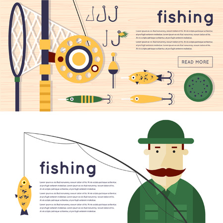 fishing net: Fisherman and flat icons. Things fishing. 2 banners. Vector illustration.