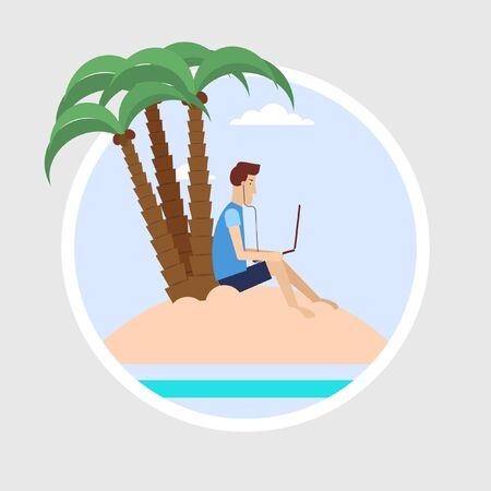tree works: Freelancer sitting on a beach under a palm tree and works.  Illustration