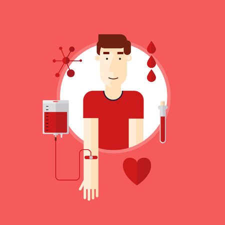 blood transfusion: Man donates blood.