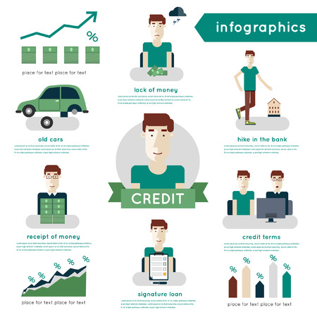 obtaining: Buying a car on credit. Applying for a loan. The process of obtaining a loan. Credit steps. Info-graphic elements. Illustration