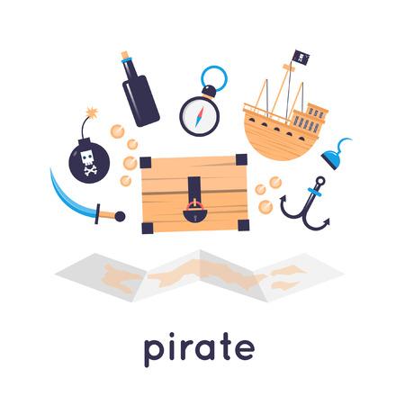 helm boat: Conjunto de elementos de diseño piratas.