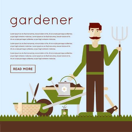 gardening equipment: Man gardener and garden tools.  Illustration