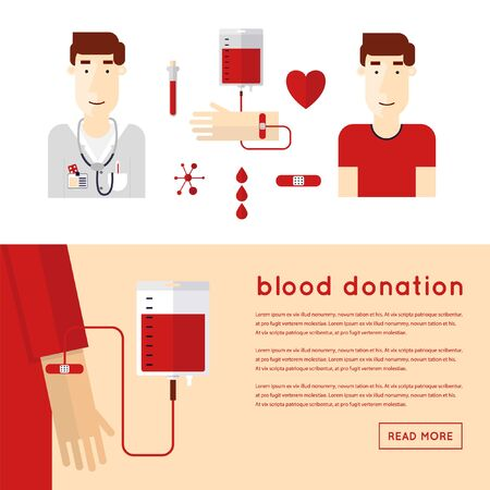 group of hands: Doctor takes a blood donation. Blood Donor. 2 banners. Blood donation icons flat style.