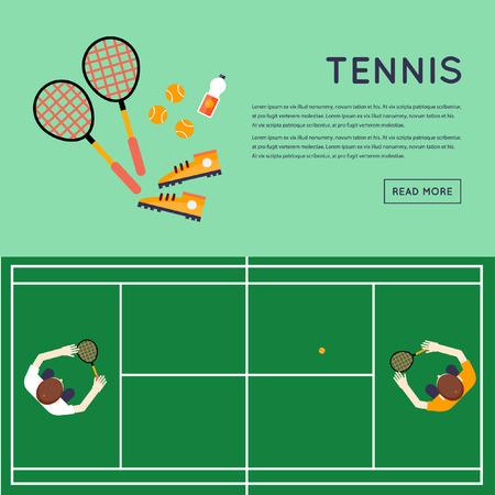 vista desde arriba: Gente que juega al tenis en la opini�n de la corte desde arriba. Vectores