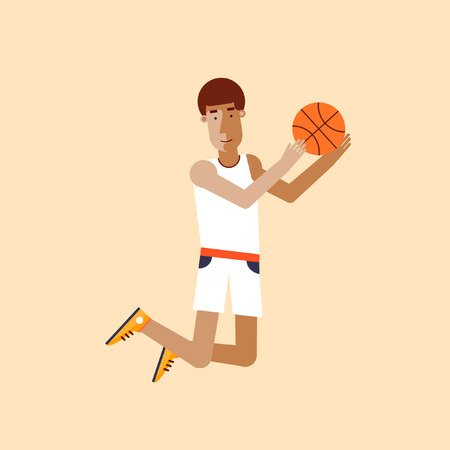 sport cartoon: Man playing basketball.