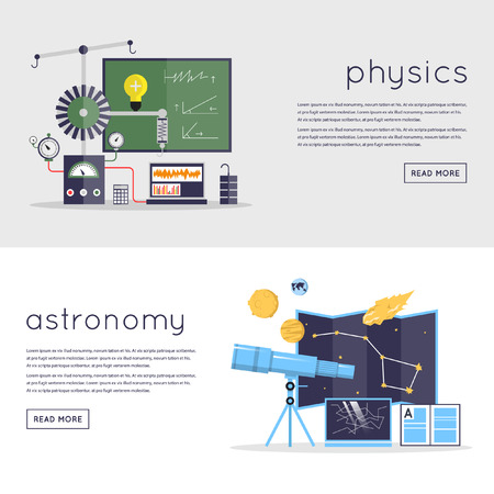 astronomie: Astronomie Laborarbeitsbereich und Wissenschaft Ausrüstung Konzept. Illustration