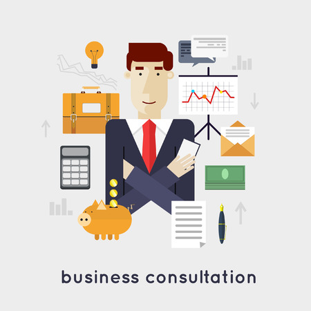 Business consultation, professional support, business management, financial planning.  Illusztráció