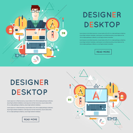 graphic designers: Designer character and workspace with tools and devices in modern flat style.