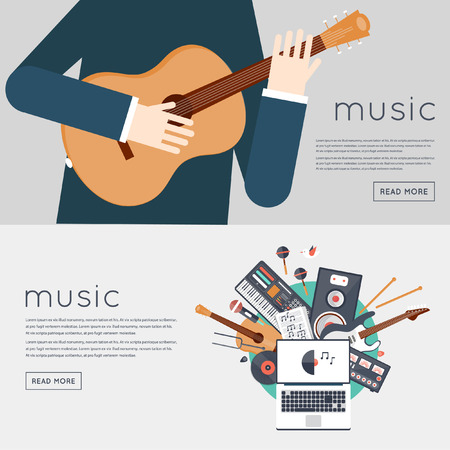 gadgets: Music gadgets and instruments.  Illustration