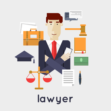 lawyer office: Flat style illustration. Illustration