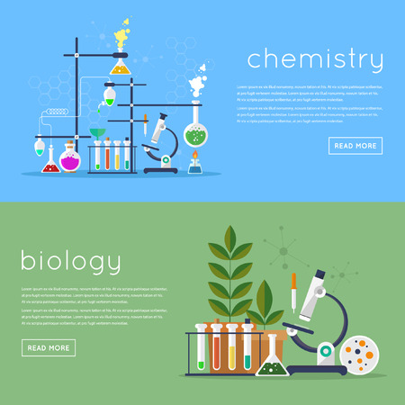 science icons: Biology laboratory workspace and science equipment concept. Chemistry laboratory workspace and science equipment concept. Flat design vector illustration.