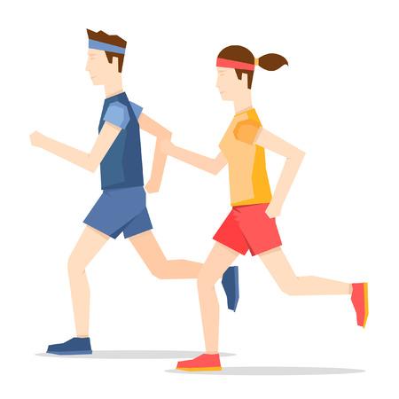 hombre deportista: El hombre y la mujer corriendo, deportes, correr. Vectores