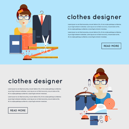 designer clothes: Designer clothes at the workplace. Composition in lap. 2 banners. Flat style vector illustration. Illustration