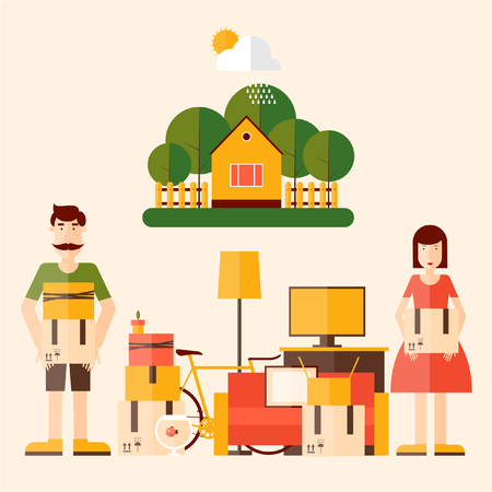 move: A man and a woman collect things for the move to a new apartment  Illustration