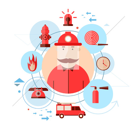Firefighter and icons around. Flat style vector illustration