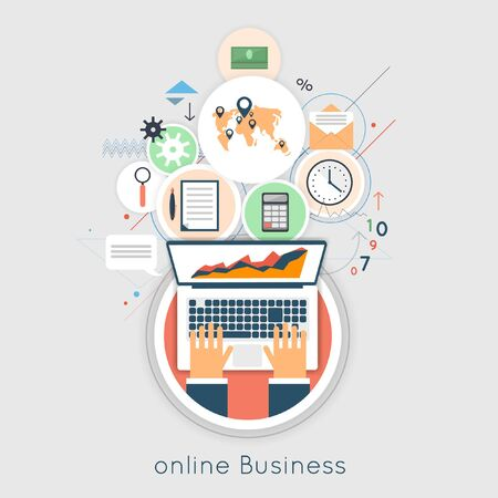 Internet business concept. On-line business. Flat design web analytics elements, optimization, programming process concept. Material design. Hands on the laptop