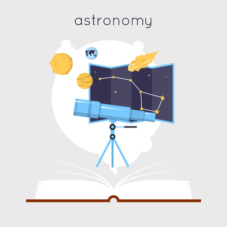 book design: Open book with tools for astronomy. Education. Back to school. Flat design vector illustration.