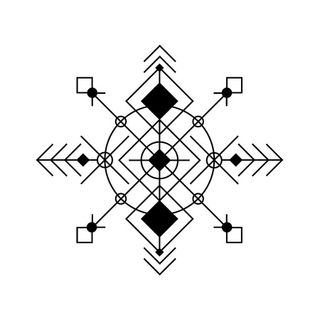traditional tattoo: Vector abstract geometric background, ethnic pattern, aztec pattern, black on white, poster. Ethnic pattern, geometric background, aztec decor elements. Illustration