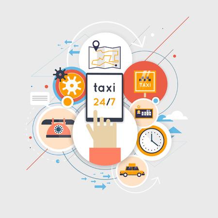 Taxi call. Taxi service concept. Booking, payment. Set of flat icons. Flat design vector illustration. Illusztráció