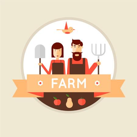 Farmer man en vrouw. Oogsten, landbouw. Platte ontwerp vector illustratie Stock Illustratie
