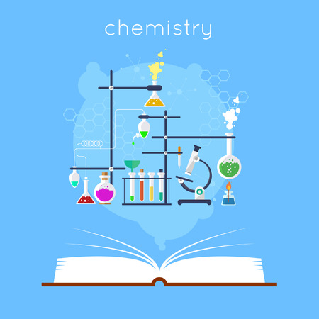 reaction: Open book with tools for chemistry. Education. Back to school. Flat design vector illustration.