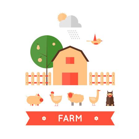farm animal: Farm in village set of icons. Harvesting, agriculture. Flat design vector illustration